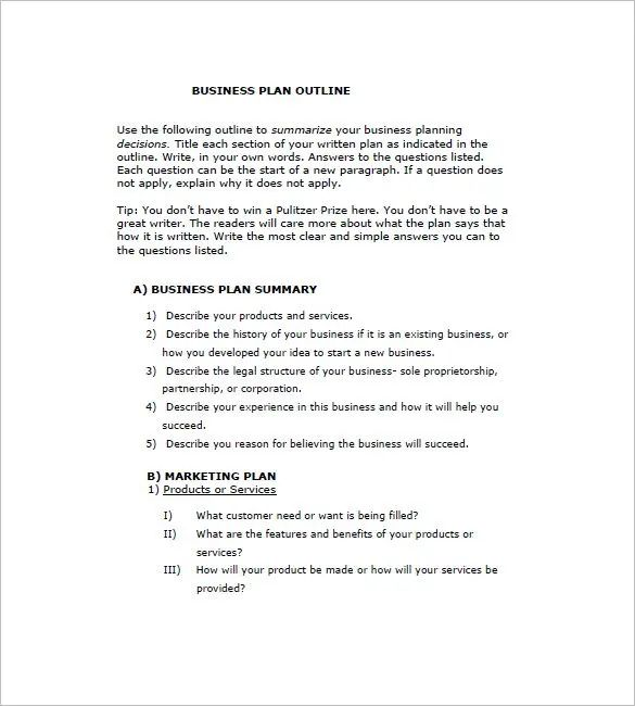 simple business proposal outline