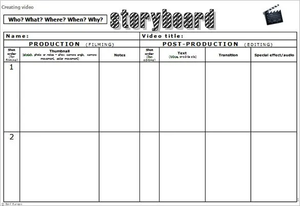Audio \ Video StoryBoard Template u2013 9+ Free Sample, Example - free storyboard templates