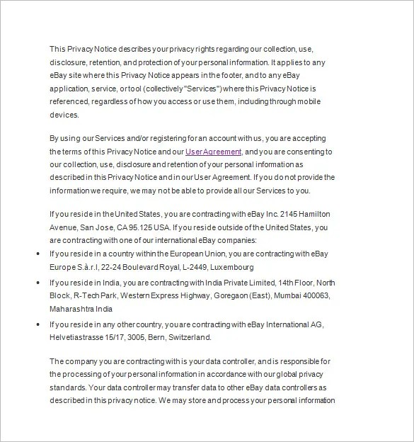 Privacy Notice Template \u2013 20+ Free Samples, Examples, Format