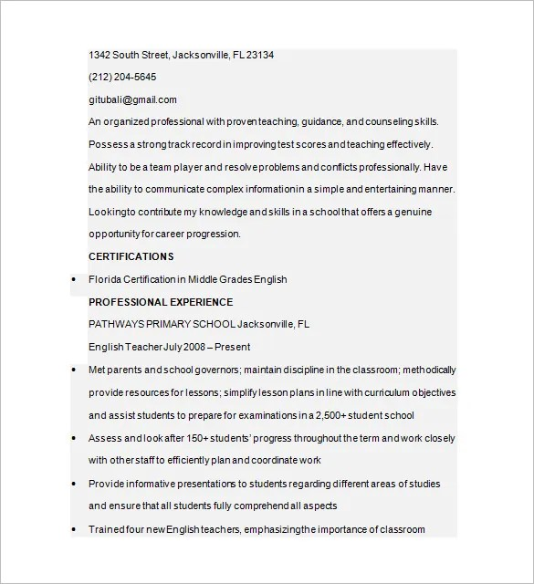 Tutor Resume Template \u2013 13+ Free Samples, Examples, Format Download - tutor resume examples