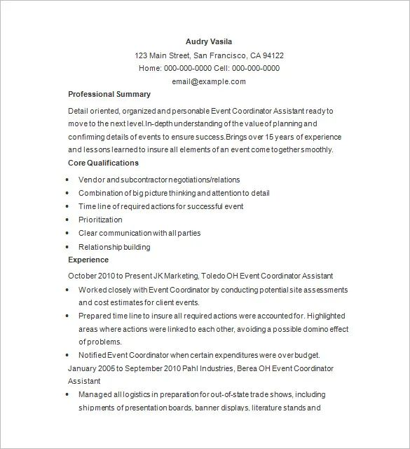 event planner sample resume