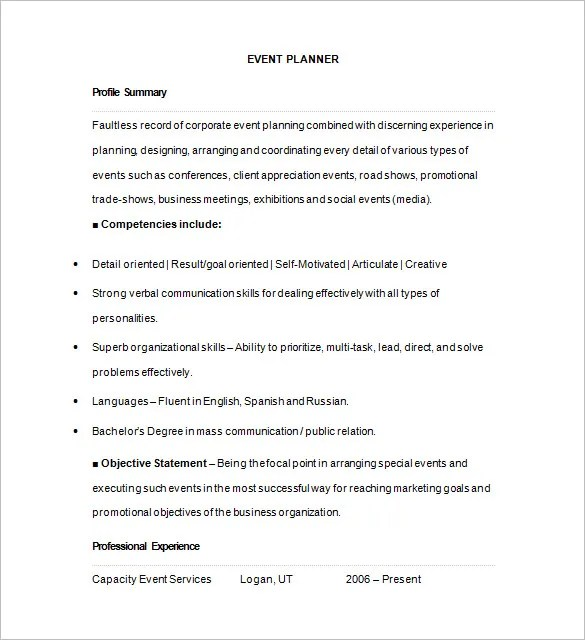 Event Planner Resume Template u2013 11+ Free Samples, Examples, Format - event planner resume template