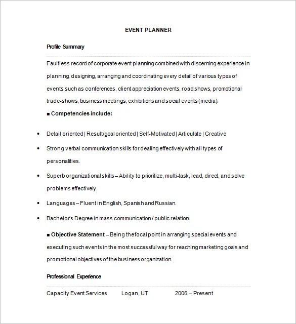 10+ Event Planner Resume Templates - DOC, PDF Free  Premium Templates - event consultant sample resume
