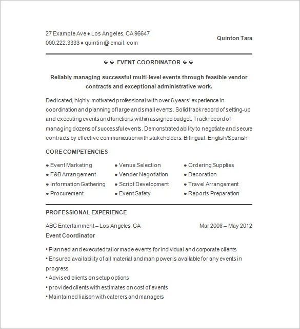 event coordinator resume template example