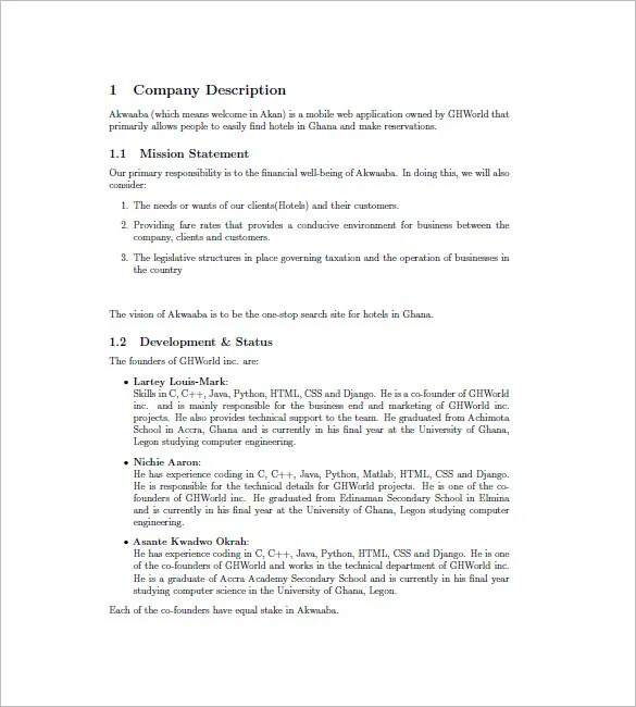 Hotel Business Plan Template u2013 9+ Free Word, Excel PDF Format - free business bill of sale template