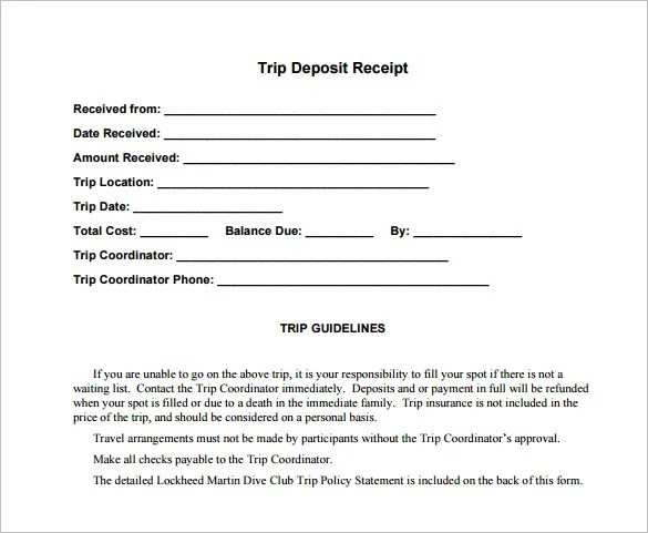 Deposit Receipt Template u2013 13+ Free Sample, Example, Format - paid in full receipt template