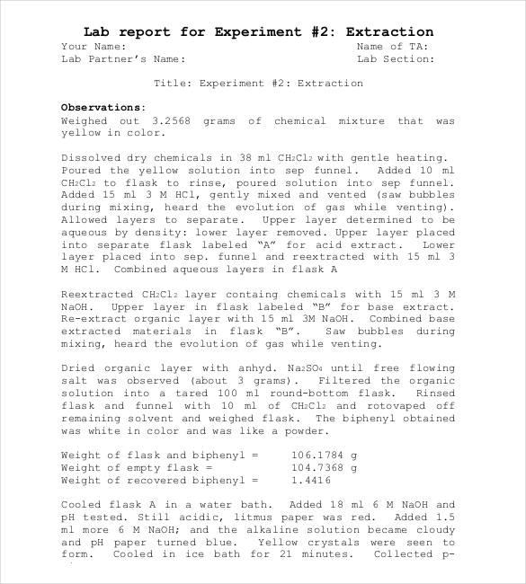 report sample essay chemistry lab report sample lab report 40 lab - lab report sample