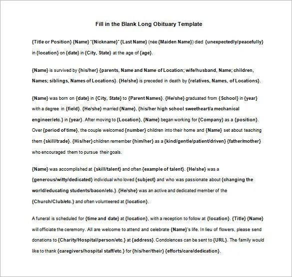 Blank Obituary Template u2013 7+ Free Word, Excel, PDF Format Download - funeral obituary template