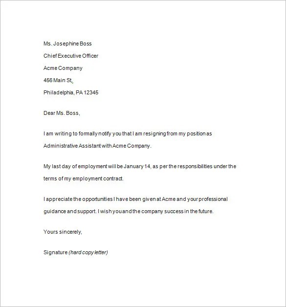 Resignation Notice Template - 17+ Free Samples, Examples, Format - notice of resignation template