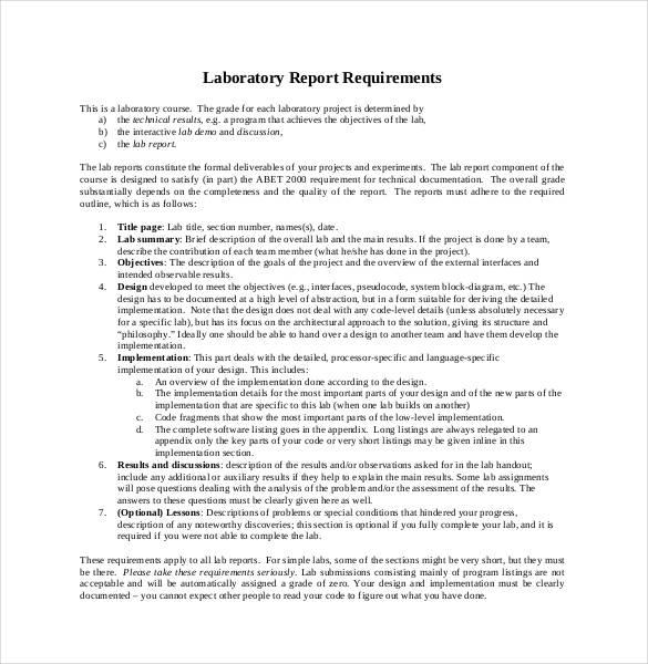 26+ Lab Report Templates - PDF, DOC Free  Premium Templates