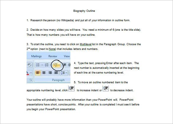 Biography Outline Template u2013 11+ Free Word, Excel, PDF Format - microsoft word biography template