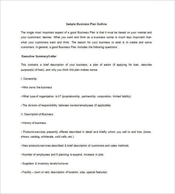 Business Plan Outline Template - 7+ Free Word, Excel, PDF Format