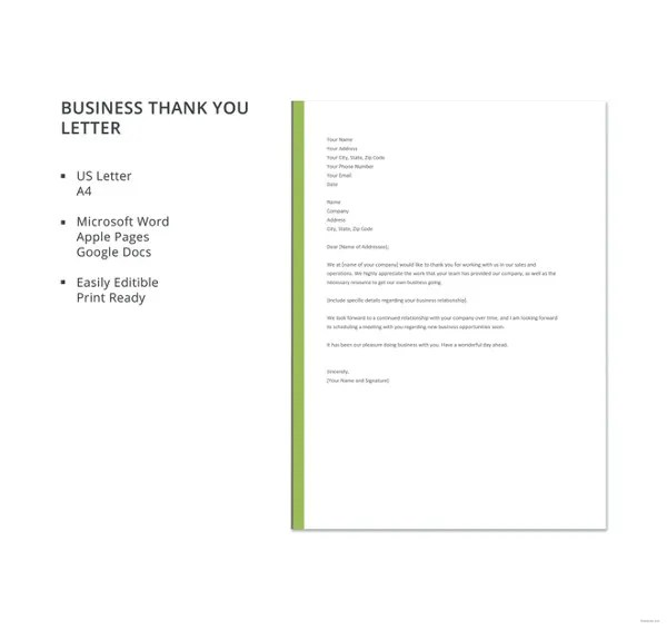 8+ Business Thank You Notes - Free Sample, Example, Format Download
