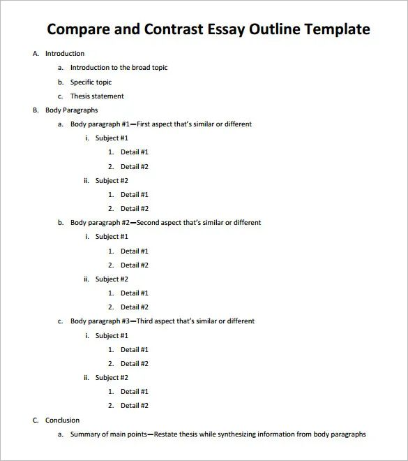 comparison essay outline examples
