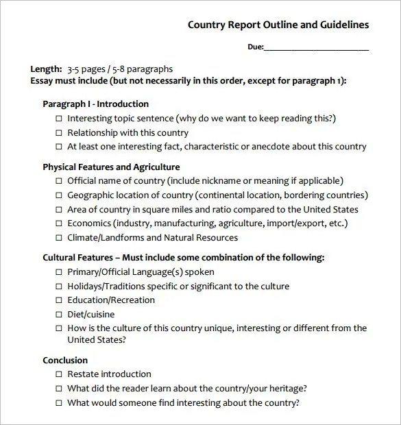 Report Outline Template \u2013 10+ Free Sample, Example, Format Download