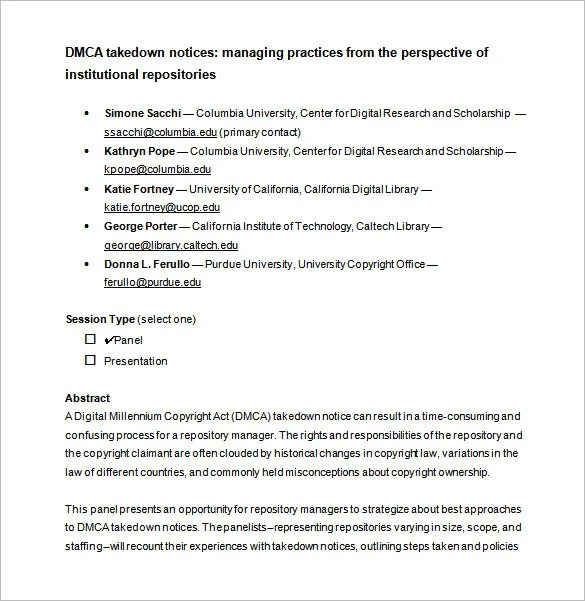 DMCA Notice Template \u2013 12+ Free Word, Excel, PDF Format Download
