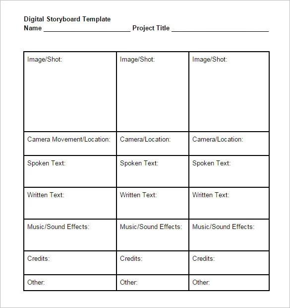 Digital StoryBoard Template \u2013 6+ Free Word, Excel, PDF, PPT Format