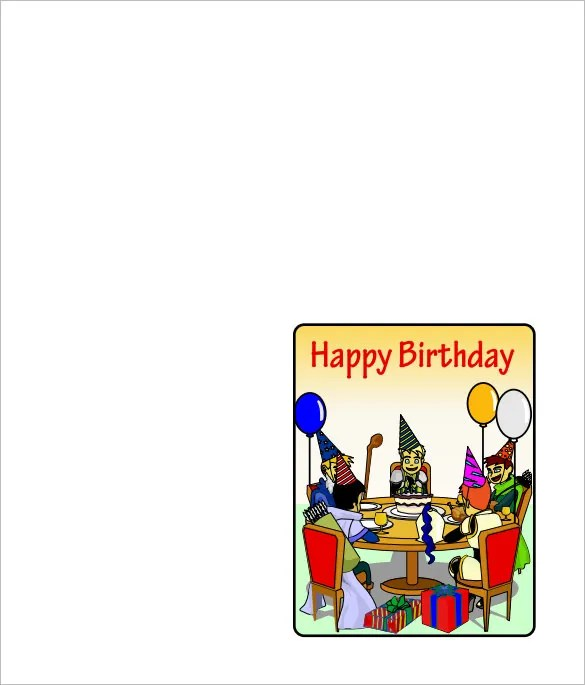 Quarter Fold Card Template u2013 7+ Free Printable Word, PDF, PSD, EPS - free birthday card template word