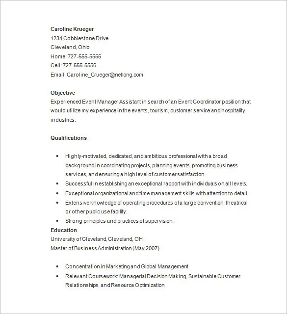 Event Planner Resume Template \u2013 11+ Free Samples, Examples, Format - event coordinator assistant sample resume