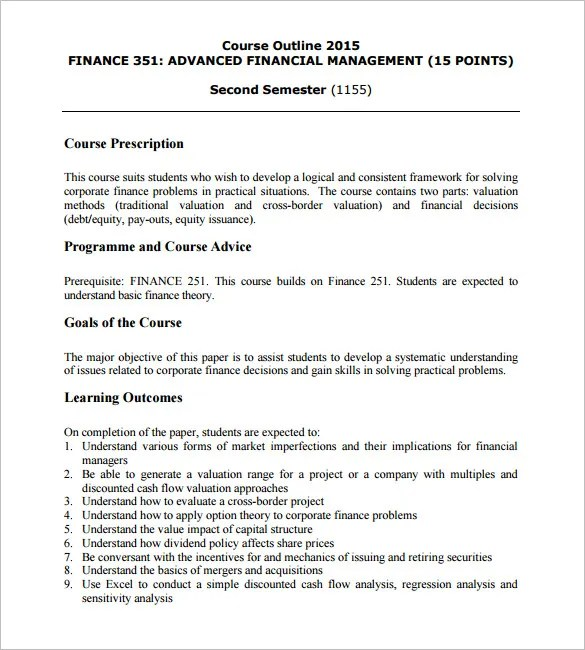 Training Course Outline Template u2013 15+ Free Free Word, PDF Format - training outline template