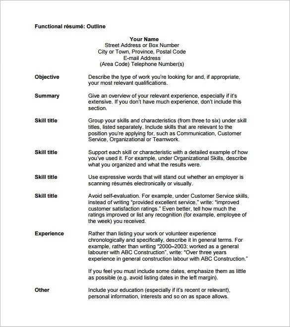 Resume Outline Examples - Examples of Resumes - Resume Outline Format