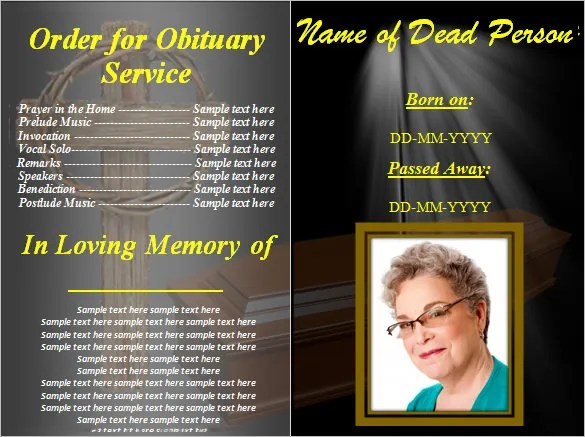 Funeral Obituary Template - 25+ Free Word, Excel, PDF, PSD Format