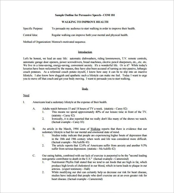 sample persuasive speech outline - Canasbergdorfbib