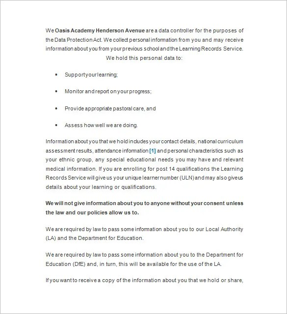 Privacy Notice Template \u2013 10+ Free Word, Excel, PDF, Format Download