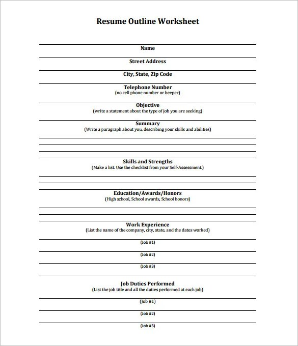 Printables Resume Worksheet Template job resume worksheet sample format for fresh graduates teen writing quintessential livecareer outline template 13 free sample