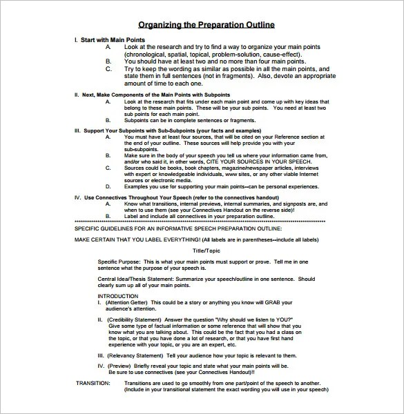 Presentation Outline Template - 26+ Free Sample, Example, Format - Introduction Speech Example