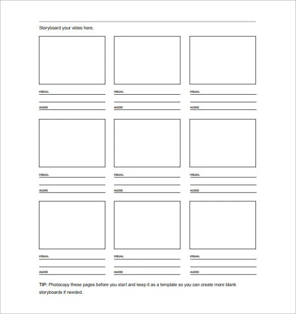 7+ Movie StoryBoard Templates - DOC, Excel, PDF, PPT Free - storyboard template pdf