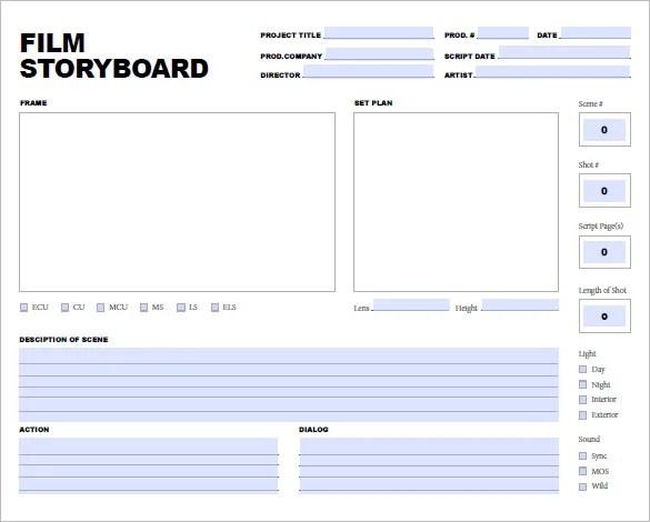 7+ Movie Storyboard Templates \u2013 DOC, PDF Free  Premium Templates