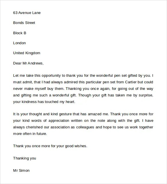 Thank You Letter for Gift u2013 8+ Free Word, Excel, PDF Format - thank you letter for gift