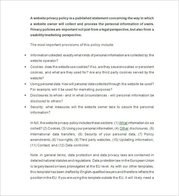 Privacy Notice Template \u2013 10+ Free Word, Excel, PDF, Format Download - privacy statement