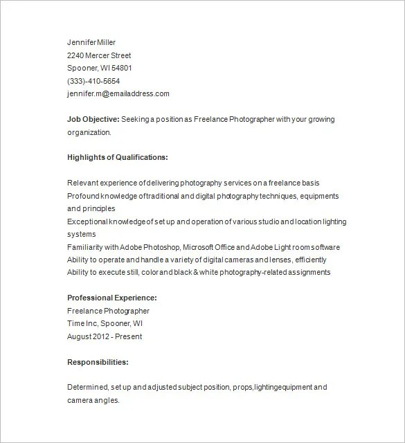 Photographer Resume Template \u2013 17+ Free Samples, Examples, Format - Photography Objective Resume