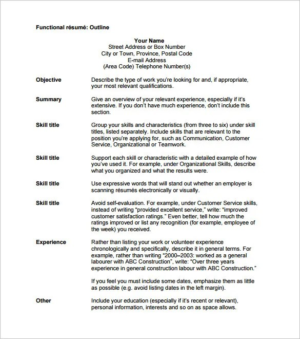 12+ Resume Outline Templates  Samples - DOC, PDF Free  Premium