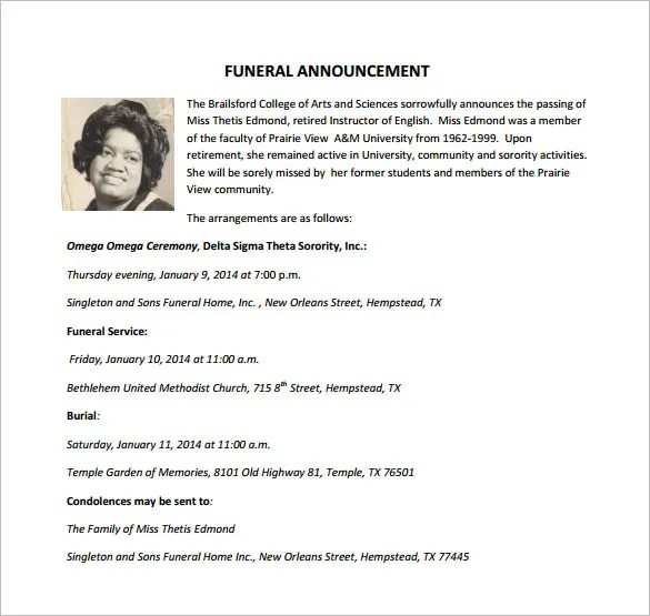 Funeral Notice Template - 12+ Free Word, Excel, PDF, PSD Format