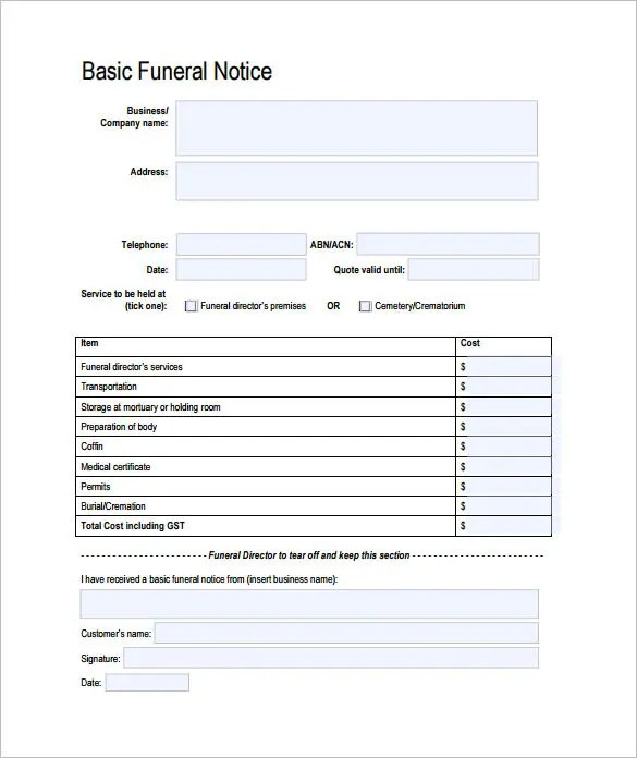 Funeral Notice Template - 12+ Free Word, Excel, PDF, PSD