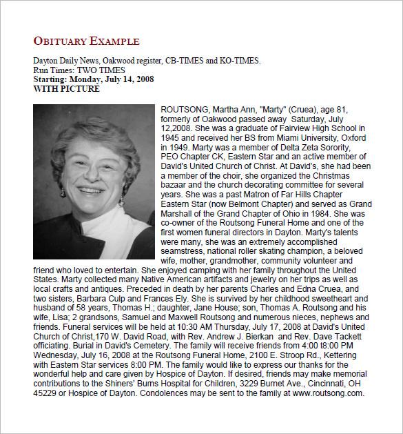 20+ Free Obituary Templates - PDF, DOC Free  Premium Templates - Free Obituary Template