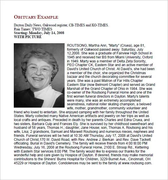 Free Obituary Templates u2013 13+ Free Word, Excel, PDF Format - funeral obituary template