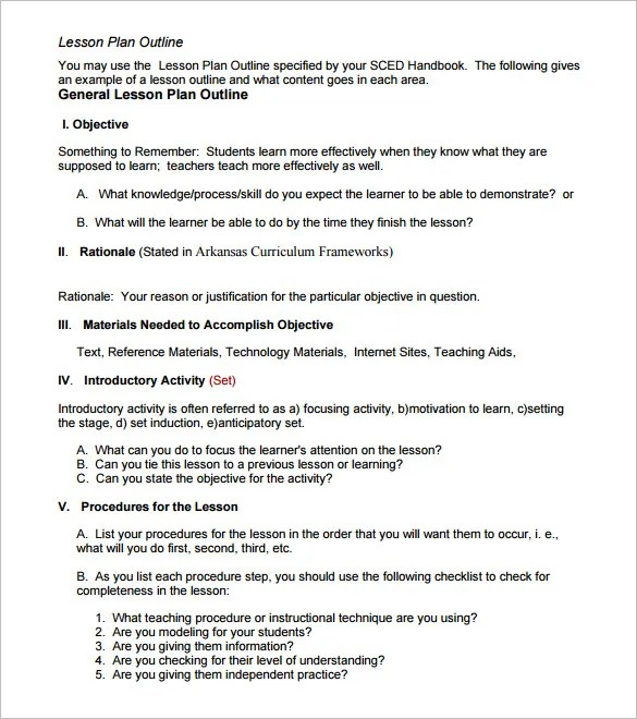 Lesson Plan Outline Sample Lesson Plan Objective Examples In Word