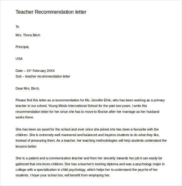 Professional Reference Letter Sample Teacher | Resume Keywords List