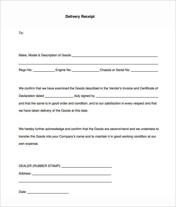 14+ Delivery Receipt Templates - PDF, DOC Free  Premium Templates