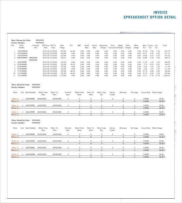 google spreadsheet invoice