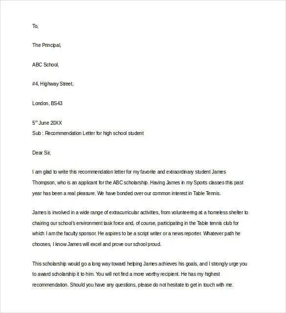 letter of recommendation for a highschool student copy example