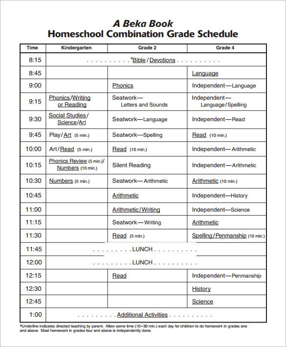 Schedule Template - 52+ Free Word, Excel, PDF Format Free - homeschool schedule template