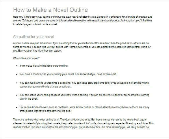 Novel Outline Template u2013 6+ Free Sample, Example, Format Download - book outline template