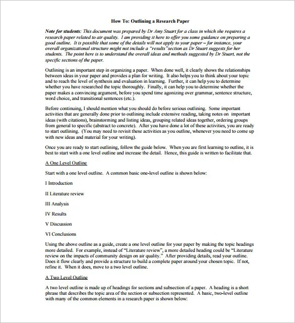 Research Outline Template \u2013 10+ Free Sample, Example, Format