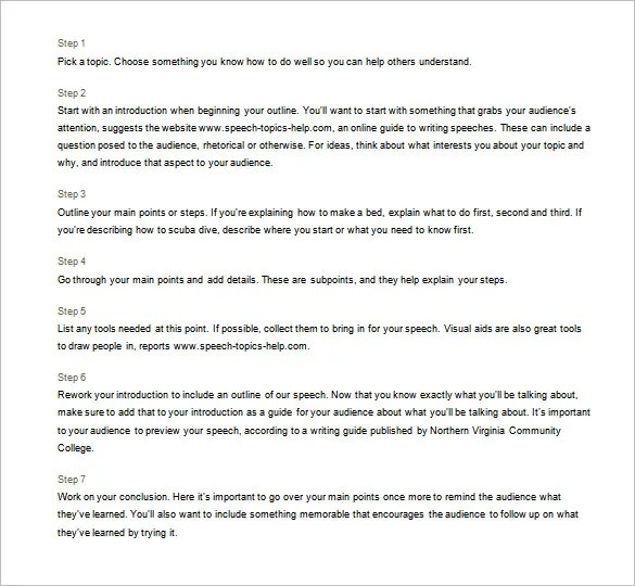 Speech Outline Template u2013 9+ Free Sample, Example, Format Download - acceptance speech example template