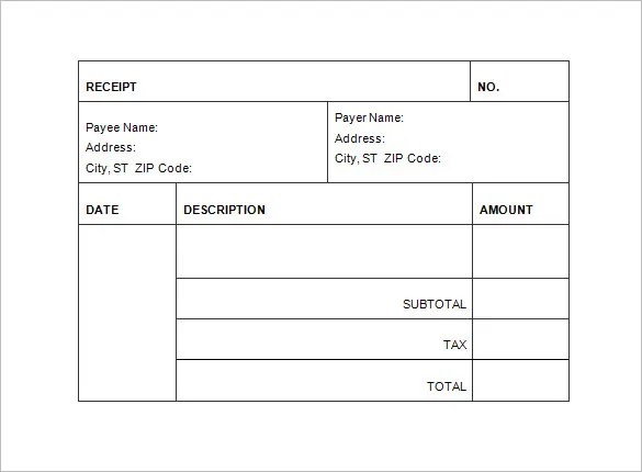 Invoice Receipt Template - 8+ Free Sample, Example, Format Download - Free Invoices Com